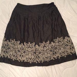Ann Taylor Loft polka dot and lace design skirt
